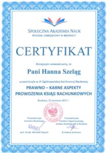 Certyfikat Brodnica konferencja Josef Welt